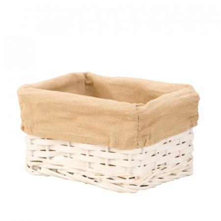 Cos alb pentru paine din rachita, captusit cu panza crem, dimensiune 11x212