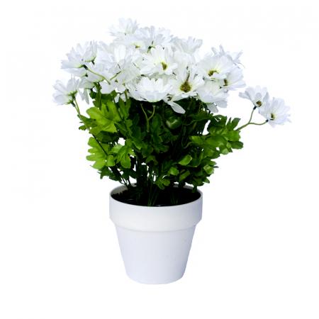 Crizanteme Artificiale Albe in ghiveci Alb, de decor cu aspect real. rezistente la Umiditate, pentru interior sau exterior, D floare 37cm, D ghiveci 15cm [1]