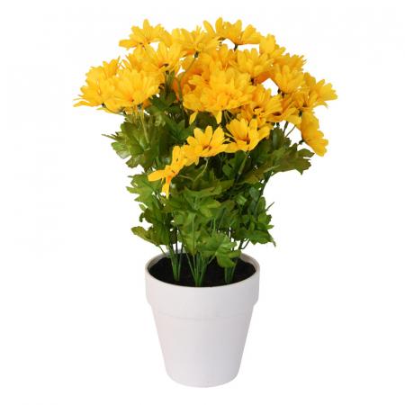 Crizanteme Galbena Artificiale in ghiveci Alb, sunt rezistente la Umiditate, Aspect natural, pentru interior sau exterior, D floare 37 cm, D ghiveci 15 cm, H totala 44 cm2