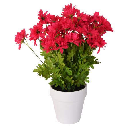 Crizanteme Artificiale decorative, Roz in ghiveci Alb, pentru interior sau exterior, Aspect natural si rezistente la Umiditate, D floare 37 cm, D ghiveci 15 cm, H totala 44 cm2