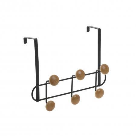 Cuier metal si lemn cu 3 carlige  pentru usa  30Χ6Χ20 cm0
