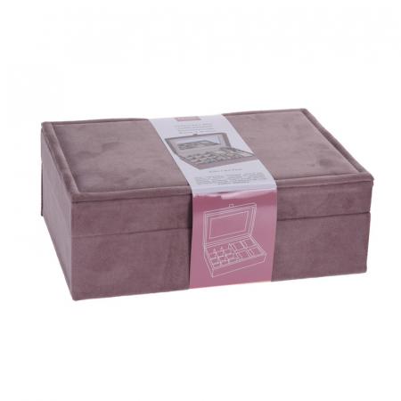 Cutie bijuterii catifea roz cu oglinda  25x16x7cm3