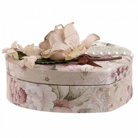 Caseta de bijuterii, moderna si rafinata, in forma de inima, cu invelis textile si imprimeu floral, Nago, Roz/Pudra, 21.5 x 19 x 9 cm [1]