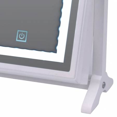 Cutie bijuterii din MDFcu oglinda si 40 LED, culoare alba, dimensiuni 32x23x6.5 cm5