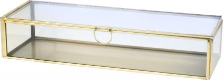 Cutie de Bijuterii clasica, Alama antichizat, sticla transparenta, metal auriu, 30x10x6,5cm0