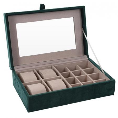 Cutie de Bijuterii si Ceasuri cu oglinda, culoare Verde inchis, captuseala Catifea, 25x16x7cm0
