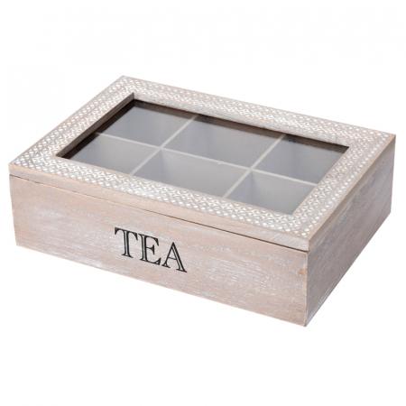 Cutie ceai 6 compartimente din lemn 24x16.5x7 cm, culoare alb1