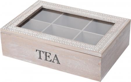 Cutie ceai 6 compartimente din lemn 24x16.5x7 cm, culoare alb0