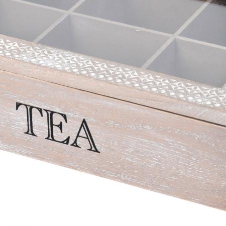 Cutie ceai 6 compartimente din lemn 24x16.5x7 cm, culoare alb3
