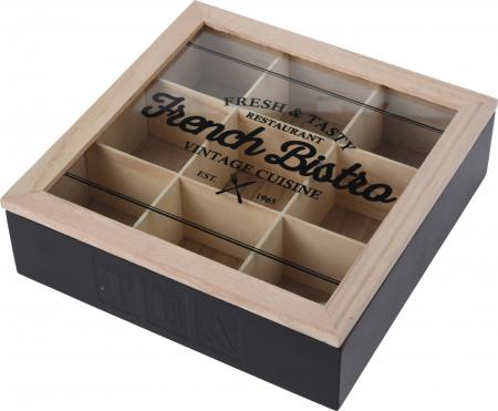 Cutie ceai 9 compartimente din lemn 24x24x7 cm culoare neagra0