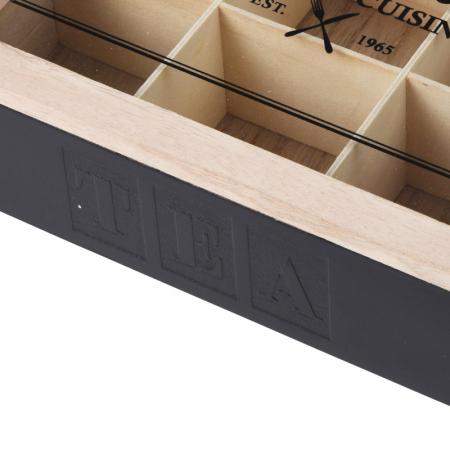 Cutie ceai 9 compartimente din lemn 24x24x7 cm culoare neagra2