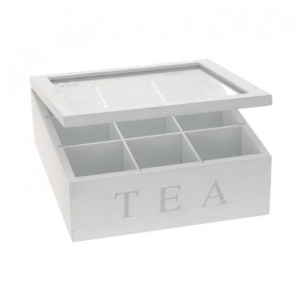 Cutie ceai, 9 compartimente, din MDF, culoare alba, 23x23x9 cm [1]