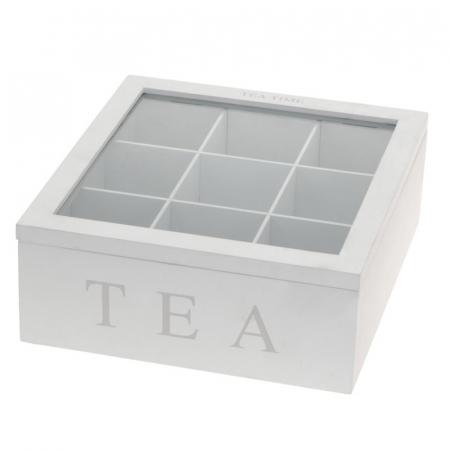 Cutie ceai, 9 compartimente, din MDF, culoare alba, 23x23x9 cm [4]