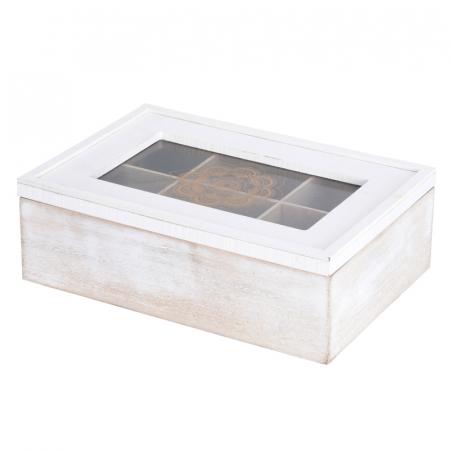 Cutie ceai alba din MDF 6 compartimente 24x16x7 cm1