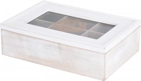 Cutie ceai alba din MDF 6 compartimente 24x16x7 cm0