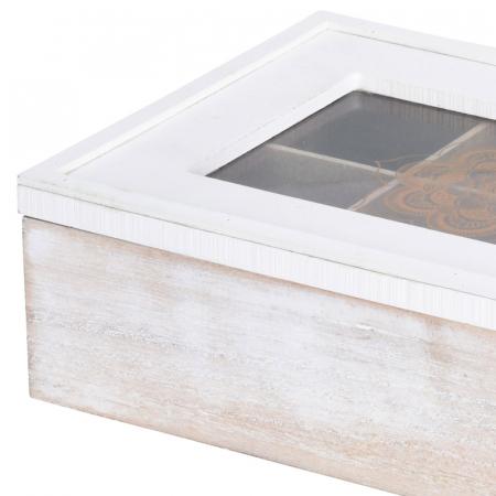 Cutie ceai alba din MDF 6 compartimente 24x16x7 cm3