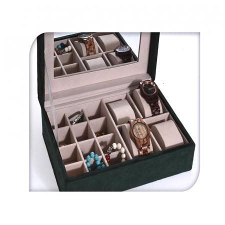 Cutie de Bijuterii si Ceasuri cu oglinda, culoare Verde inchis, captuseala Catifea, 25x16x7cm2