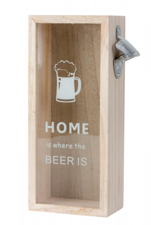 Cutie decorativa din lemn, pentru capace de bere cu deschizator, 30x12.5 cm [0]