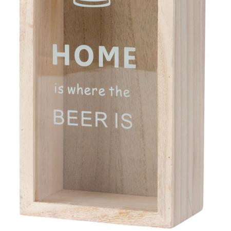 Cutie decorativa din lemn, pentru capace de bere cu deschizator, 30x12.5 cm [4]