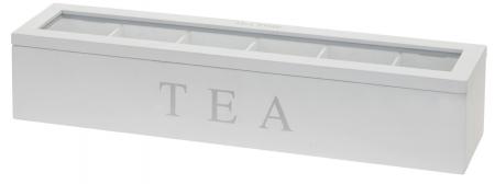 Cutie pentru depozitare pliculete ceai, 6 compartimente, cadru lemn alb, capac transparent, 4.3X9X8.7cm0