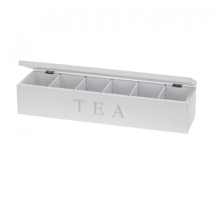 Cutie pentru depozitare pliculete ceai, 6 compartimente, cadru lemn alb, capac transparent, 4.3X9X8.7cm3