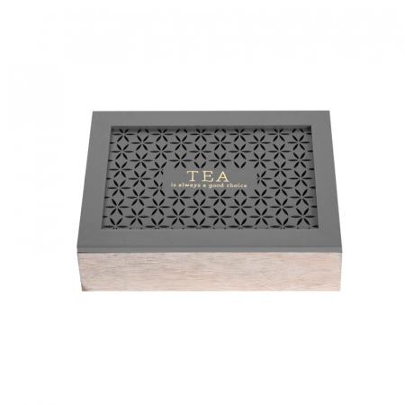 Cutie depozitare ceai, din MDF, 6 compartimente, 24x16.5x6.5 cm, Gri [2]