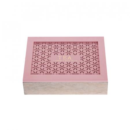 Cutie depozitare ceai din MDF 6 compartimente 24x16.5x6.5 cm culoare roz [0]