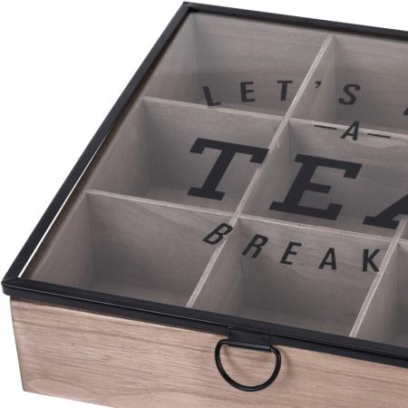 Cutie depozitare ceai din MDF 9 compartimente 24X24X7 cm1