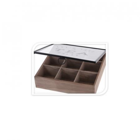 Cutie depozitare ceai din MDF 9 compartimente 24X24X7 cm6