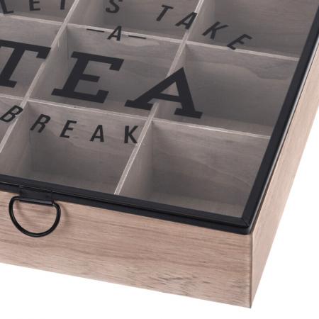 Cutie depozitare ceai din MDF 9 compartimente 24X24X7 cm2