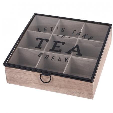 Cutie depozitare ceai din MDF 9 compartimente 24X24X7 cm0