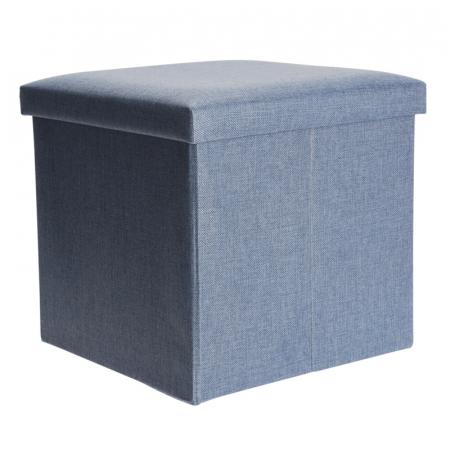 Cutie depozitare poliester tip taburet, 38x38x38 cm, Greutate 2 kg, culoare albastu [1]