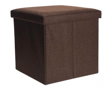 Cutie depozitare poliester tip taburet 38x38x38 cm Greutate 2 kg culoare maro0
