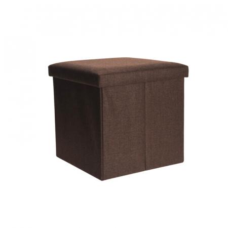 Cutie depozitare poliester tip taburet 38x38x38 cm Greutate 2 kg culoare maro [1]