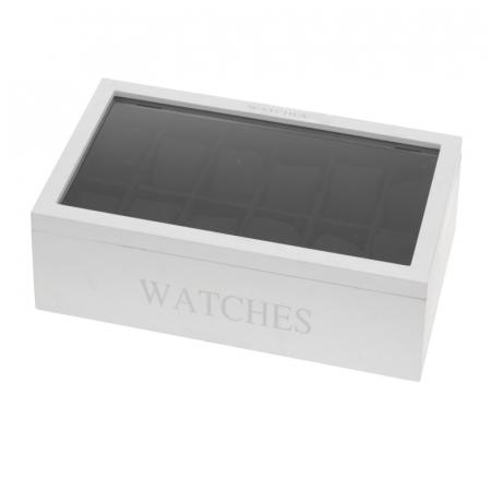 Cutie MDF pentru 12 ceasuri culoare alba, dimensiune 34.2X20.4X8.7 cm1