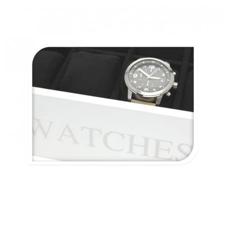 Cutie MDF pentru 12 ceasuri culoare alba, dimensiune 34.2X20.4X8.7 cm3
