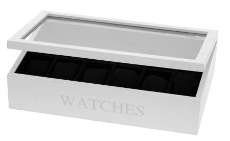 Cutie MDF pentru 12 ceasuri culoare alba, dimensiune 34.2X20.4X8.7 cm2