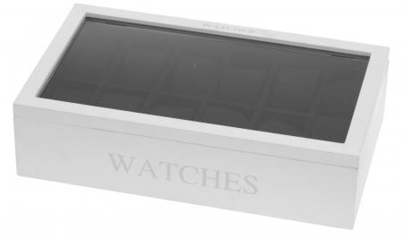 Cutie MDF pentru 12 ceasuri culoare alba, dimensiune 34.2X20.4X8.7 cm0