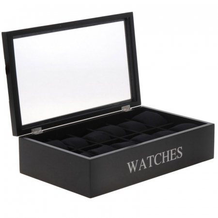 Cutie pentru 12 ceasuri, din MDF, culoare neagra, 34x20,5x9 cm [0]