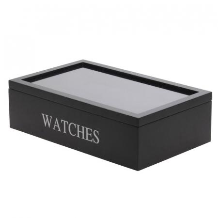Cutie pentru 12 ceasuri, din MDF, culoare neagra, 34x20,5x9 cm [1]