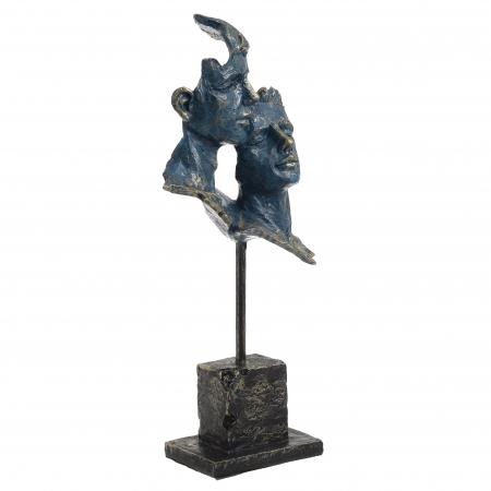 Decoratiune de masa, din polirezina, fete cuplu, bronz, Albastru Auriu, 16x7x34 cm0