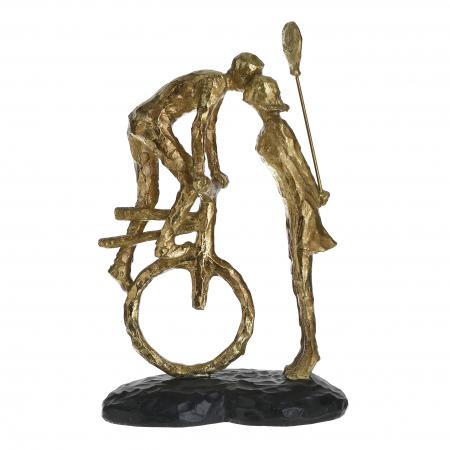 Decoratiune de masa, din polirezina, Cuplu Sarutandu-se, Auriu, 17x11x26 cm0