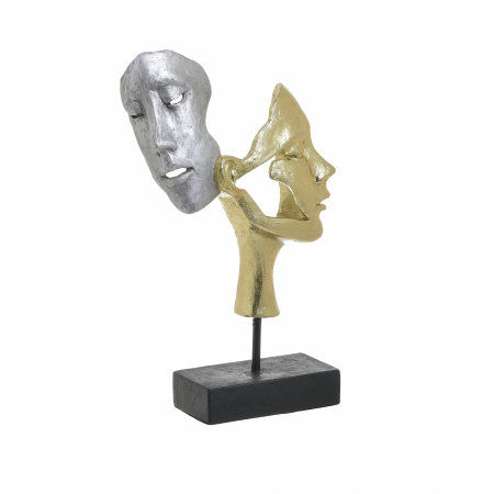 Decoratiune de masa, din polirezina, fete cuplu, Auriu si Argintiu, 21x8x33 cm [1]