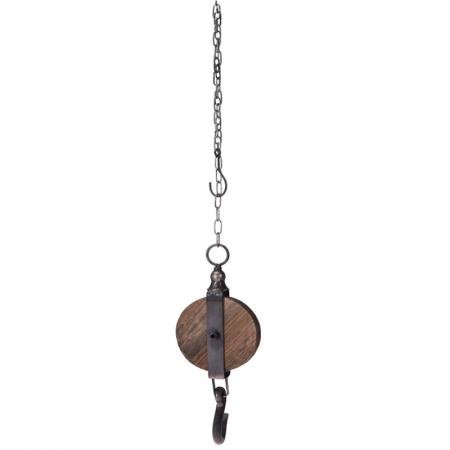 Decoratiune Scripete si Carlig 12 cm,din lemn cu lant metalic 1 m7