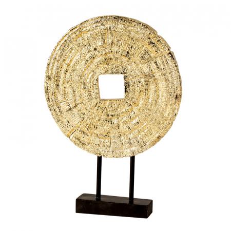 Decoratiune disc auriu pe suport, diametru 33 cm [5]