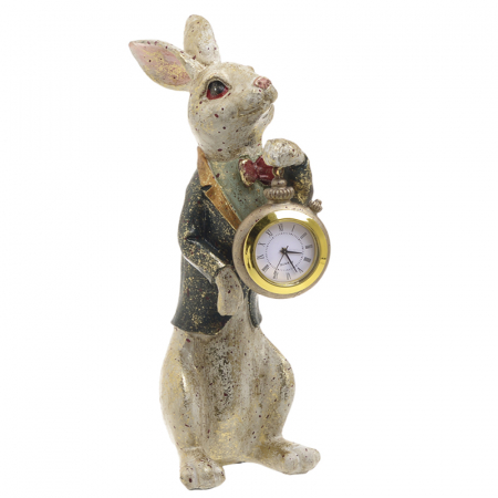 Decoratiune figurina iepure, din polirezina cu ceas, 12x7x22 cm [5]