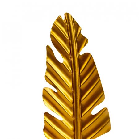Decoratiune frunza, Aurie, din metal, pe un pedestal din lemn maro, 42.5x15.5 cm2