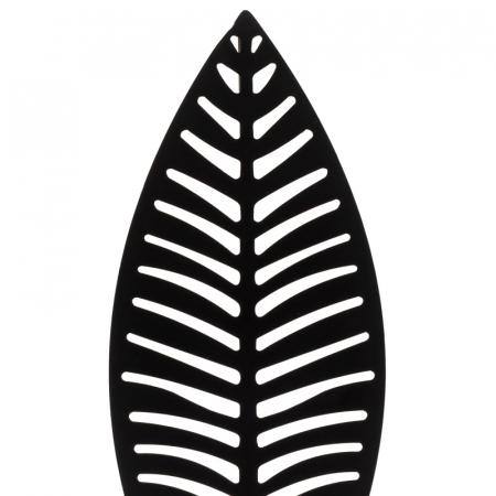 Decoratiune frunza Neagra, din metal, pe suport de lemn Maro, 25.5x12 cm2