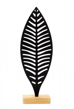 Decoratiune frunza Neagra, din metal, pe suport de lemn Maro, 25.5x12 cm1