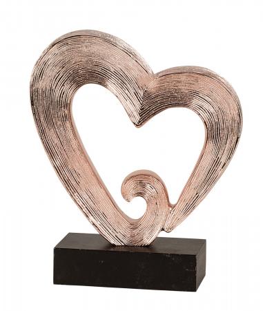 Decoratiune in forma de inima, culoare Cupru, pe un piedestal din lemn, 26 cm [2]